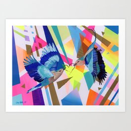 Geo Fly Birds Art Print