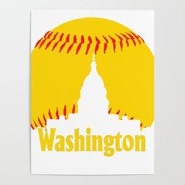 Washington DC Baseball National Mall Skyline Poster