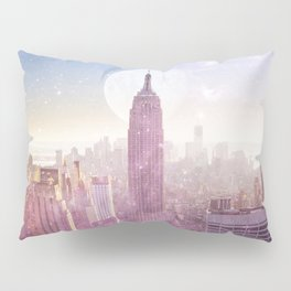 I LOVE PINK NEW YORK CITY SKYLINE - Full Moon Universe Pillow Sham