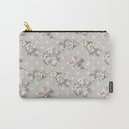 Vintage chic artistic pink ivory polka dots floral Carry-All Pouch