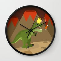 dinosaur Wall Clocks featuring dinosaur by Nir P