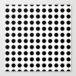 Simply Polka Dots in Midnight Black Canvas Print