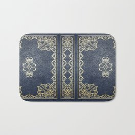 Gilded Gold and Blue Book Bath Mat