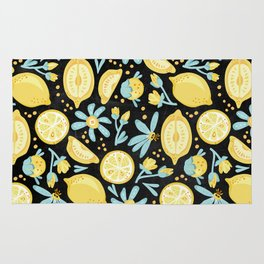 Lemon Pattern Black Rug