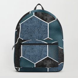 Midnight marble hexagons Backpack