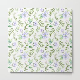 Watercolor lavender lilac green hand painted floral Metal Print