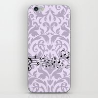 music notes iPhone & iPod Skins featuring Damask Music Notes by Jessica Wray