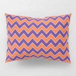 Orange and purple clemson chevron stripes university college alumni football fan gifts Pillow Sham