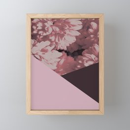 Pink mums geometrical collage Framed Mini Art Print