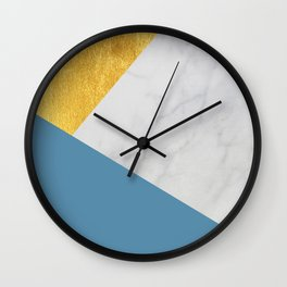 Carrara marble with gold and Pantone Niagara color Wall Clock