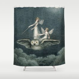 """""""Faeries Riding On an Owl"""" by Amelia Jane Murray Shower Curtain"""