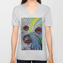 Bichon in Blue Tones Unisex V-Neck