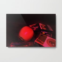 Apple and Cassettes Metal Print