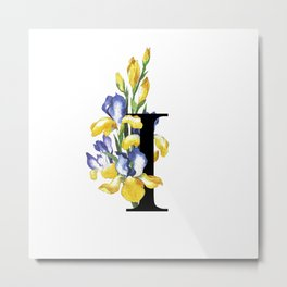 Letter 'I' Iris Flower Typography Metal Print
