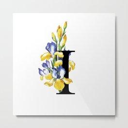 Letter 'I' Iris Flower Typography Metal Print