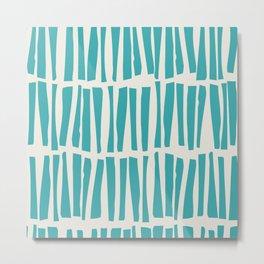 Aqua Teal Turquoise Solid Color Vertical Dash Stripe Line Pattern on Alabaster White - Aquarium SW 6767 Metal Print