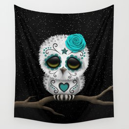 Adorable Teal Blue Day of the Dead Sugar Skull Owl Wall Tapestry