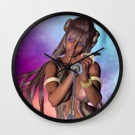 Samurai sword girl with long hair Wall Clock