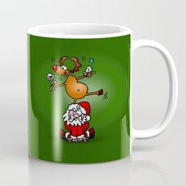Reindeer is having a drink on Santa Claus Coffee Mug