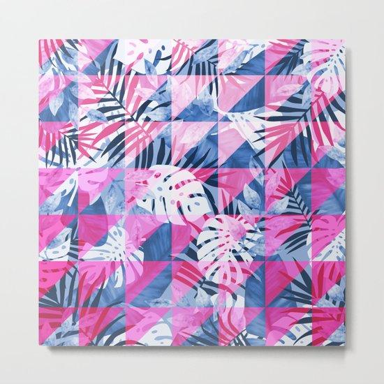 Abstract Hot Pink Geometric Tropical Design Metal Print
