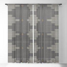 Southwestern Minimalist Black & White Sheer Curtain