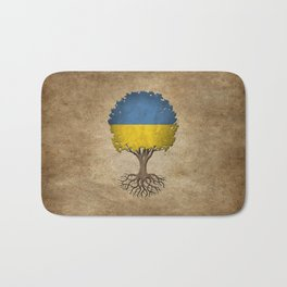 Vintage Tree of Life with Flag of Ukraine Bath Mat