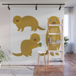 Set of funny Gopher ground squirrel with acorn on white background. Vector illustration Wall Mural