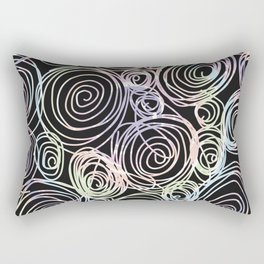 Abstract Artwork Pattern of Color Circles on a Black Background Style #03 Rectangular Pillow