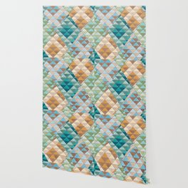 Triangle Patter No.15 Shifting Teal and Yellow Wallpaper