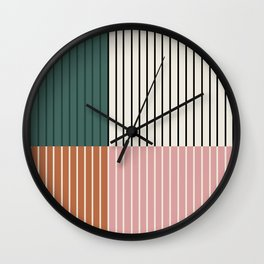 Color Block Line Abstract V Wall Clock