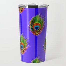 Decorative Contemporary  Peacock Feathers Art Travel Mug
