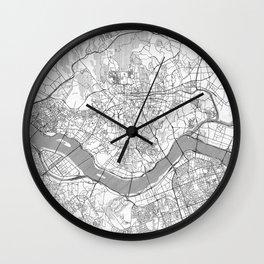 Seoul Map Line Wall Clock