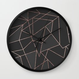Chic Rose Gold Geometric Outline on Black Charcoal Wall Clock