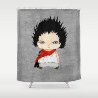 akira Shower Curtains featuring A Boy - Tetsuo (Akira) by Christophe Chiozzi