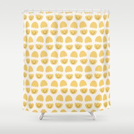 Cute vector cracked eggs illustration Shower Curtain