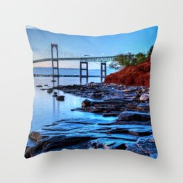 Newport Bridge, Rhode Island - Autumn Twilight Landscape Painting by Jeanpaul Ferro Throw Pillow