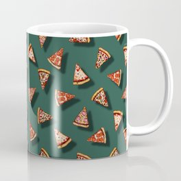Pizza Party Pattern - Floating Pizza Slices on Teal Coffee Mug