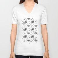 vintage floral V-neck T-shirts featuring VINTAGE FLORAL by Kiley Victoria
