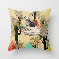 power Throw Pillows featuring Found You There  by Sandra Dieckmann