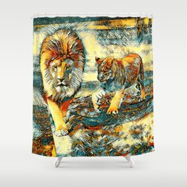 AnimalArt_Lion_20171017_by_JAMColors Shower Curtain