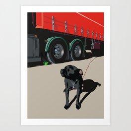 Trucker's dog Art Print