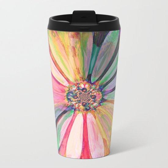Abstract Colorful Daisy 3 Metal Travel Mug