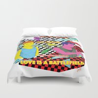 battlefield Duvet Covers featuring Love is a battlefield by JetProArt