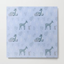 Deer and rabbit cute pattern - blue version Metal Print