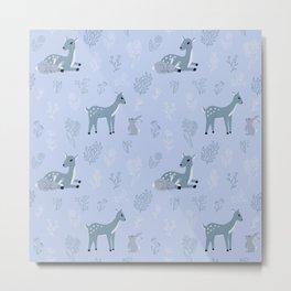 Deer and rabbit cute pattern - blue version Metal Print