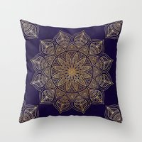 islam Throw Pillows featuring Gold Mandala by Mantra Mandala