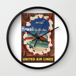1950 Hawaii United Airlines Travel Poster Wall Clock
