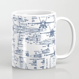 F-18 Blueprints // Blue Ink Coffee Mug