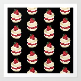 Fruit Shortcake dessert food apparel and gifts food fight black Art Print
