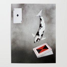 Japanese Koi Bekko Ace of spades. Poster